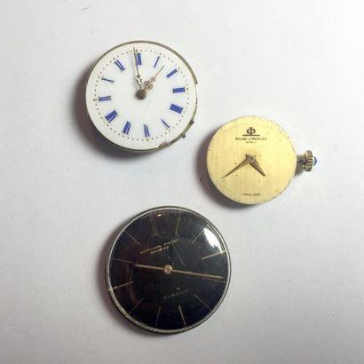 Trois mouvements de montres:  - Audemar-Piguet,...