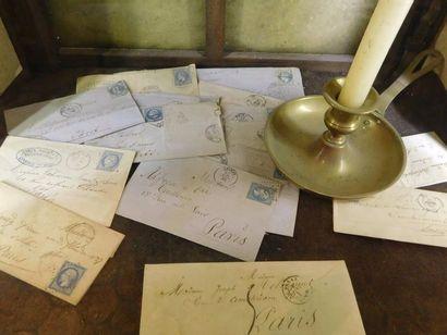 [TIMBRES] ENSEMBLE de 15 Lettres pliées et...
