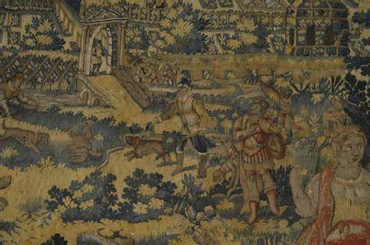 """TAPISSERIE flamande """"Scène de chasse, cloître et jardin; un couple de tient debout..."""