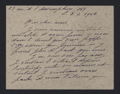 LAURENT TAILHADE (1854-1919), billet, 1904,...