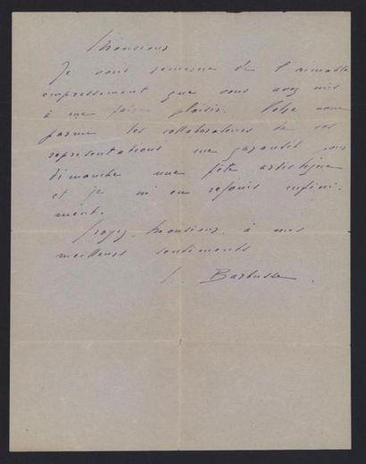 BARBUSSE Henri (1873-1935), écrivain. Lettre...
