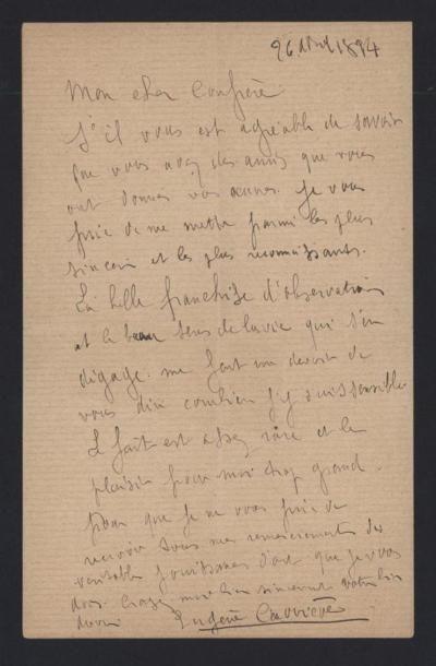 CARRIERE Eugène (1849-1906), peintre. Lettre...