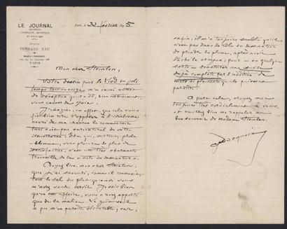 DACQUOIS Georges. Lettre autographe signée...