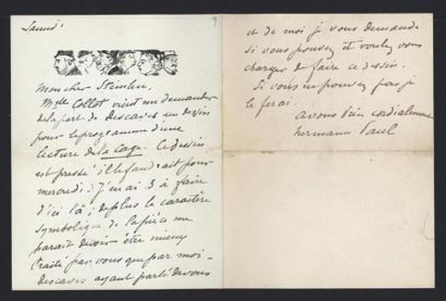HERMANN-PAUL (1864-1940), illustrateur. Lettre...