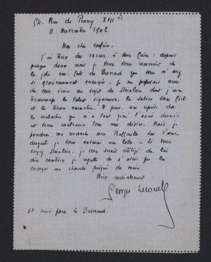 LECOMTE Georges (1867-1958), romancier. Lettre...