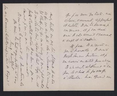 MONFORT Eugène (1877-1936), écrivain. Deux lettres autographes signées, adressées...