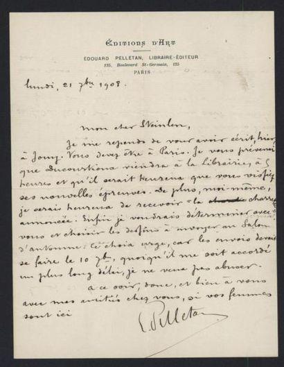 PELLETAN Edouard (1854-1912), éditeur. Lettre...