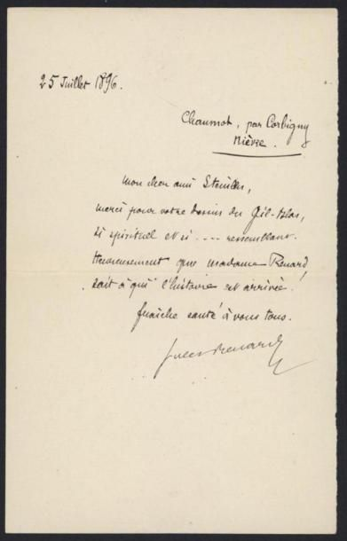 RENARD Jules (1864-1910), écrivain. Lettre...
