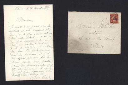 CURIE Marie (1867-1934), physicienne et chimiste. Lettre autographe signée, adressée...