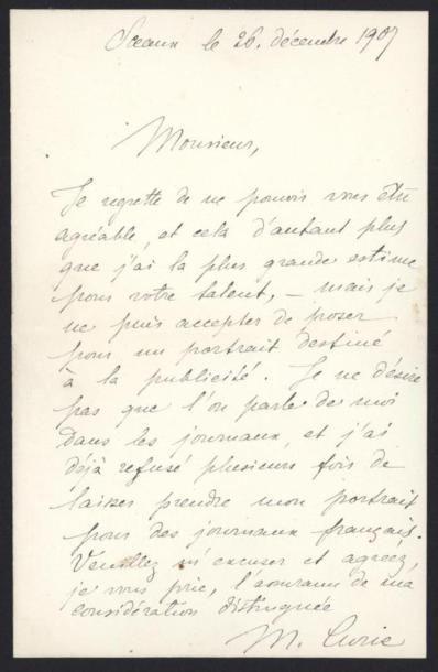 CURIE Marie (1867-1934), physicienne et chimiste....