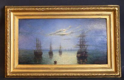 Eduardo de MARTINO (1838 - 1912, Vue flotte navale, huile sur panneau de...