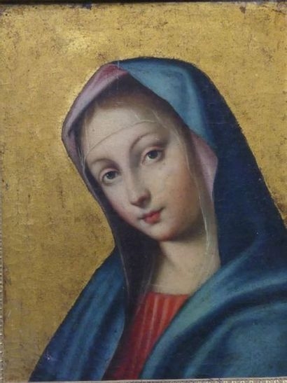 Vierge en buste sur fond or