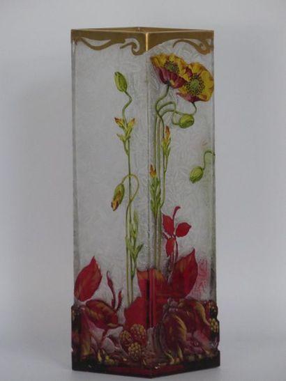 Baccarat. Vase quadrangulaire