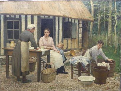 Scène de lavandières