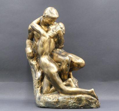 D'après Le Baiser de Rodin, sculpture en...