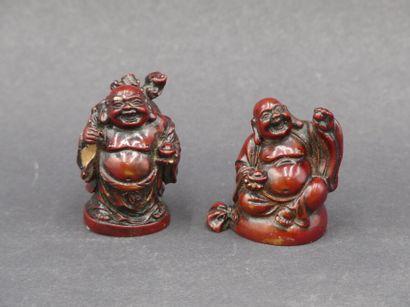Réunion de deux bouddhas rieurs. Hauteur : 5 cm