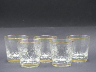 CRISTALLERIE SAINT-LOUIS. Cinq verres à Whisky
