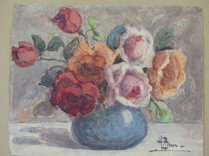 Henri BRUN. Lot de deux aquarelles sur carton,