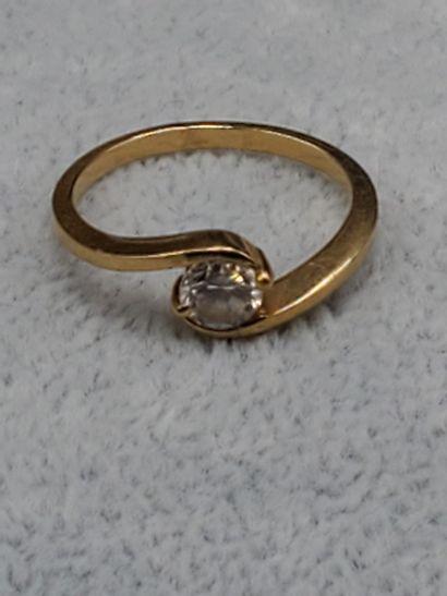 Bague diamant solitaire or jaune. Diamant environ 0,5 carats