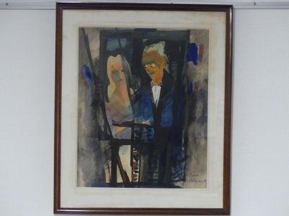 Jean BRIANT. Couple au balcon