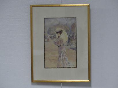 Lionello BALESTRIERI. Femme à l'ombrelle