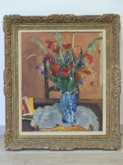 Henri MALVAUX (1908-1994) . Bouquet de fleurs. Huile sur toile