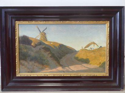 Ludvig KABELL Paysage au moulin à vent Huile sur toile