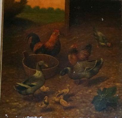 Scène de basse-cour.  Peinture sur porcelaine