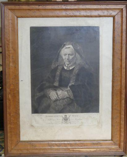 D'après Rembrandt gravure, Rembrandt's wife