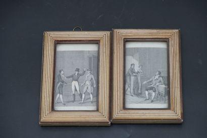 Fin XVIIIème siècle. Paire de gravures au burin encadrées sous verre.