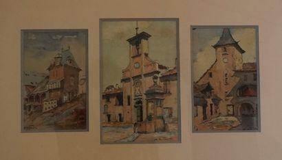 Jean-Louis FAURE(1931-).Suite de quatre aquarelles encadrées sous verre à représentant des scenes de village.