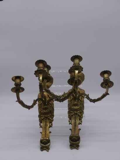 Paire d'appliques en bronze