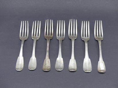 Suite de 6 fourchettes en argent