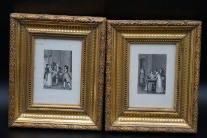 XVIIIème siècle. Paire de gravures encadrées sous verre.