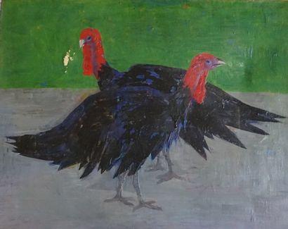Georges AKOPIAN Couple de pintades. huile sur toile