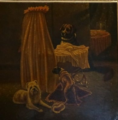Scène de genre avec trois chiens  Peinture sur porcelaine