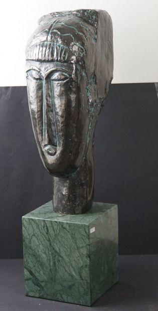 d'après Amadeo MODIGLIANI (1884-1920) TETE DE JEUNE FILLE A LA FRANGE