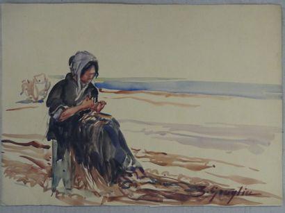 Zoé GRAGLIA (XIX-XX). Femme au bord de la plage