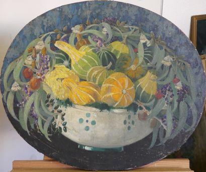 Attribué à Georges Albert E. BELNET . Nature morte aux cucurbitacées. huile sur toile de forme ovale.