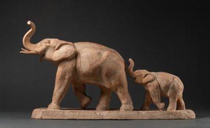 Eléphante et son éléphanteau