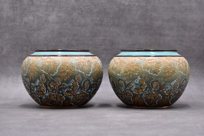 DOULTON LAMBETH. Paire de cache-pots en céramique...