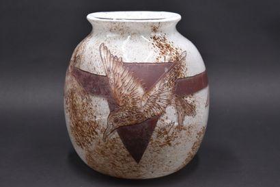 LEGRAS. Important vase sphérique à corps...