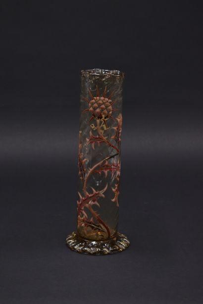 Émile GALLE (1864-1904). Vase tubulaire torsadé...