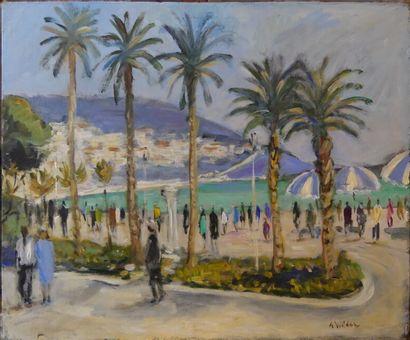 André WILDER (1871-1965). Promenade des anlais à Nice ?