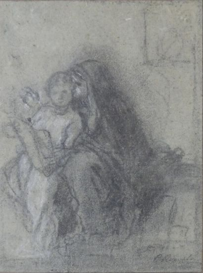 Camille ROQUEPLAN (1803-1855). Femme et enfant lisant