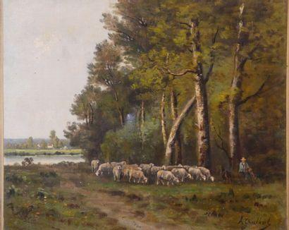 André GUILBERT, Moutons paissant au bord de l'eau.