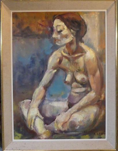 A. GRAVIE, Femme nue assise