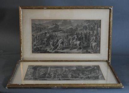 Paire de dessins. XVIIème siècle.
