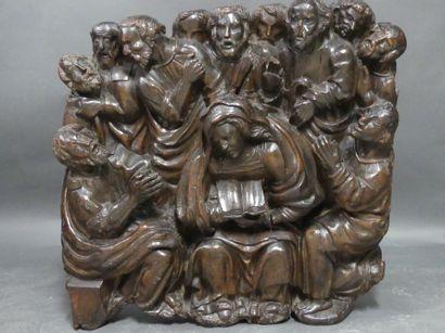 La Pentecôte, retable en noyer, XVIème.