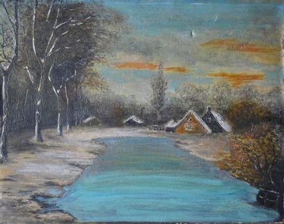 Ecole du XVIIIe siècle. Paysage d'hiver.